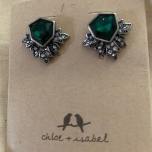 emerald tone Chloe and Isabel stud earrings